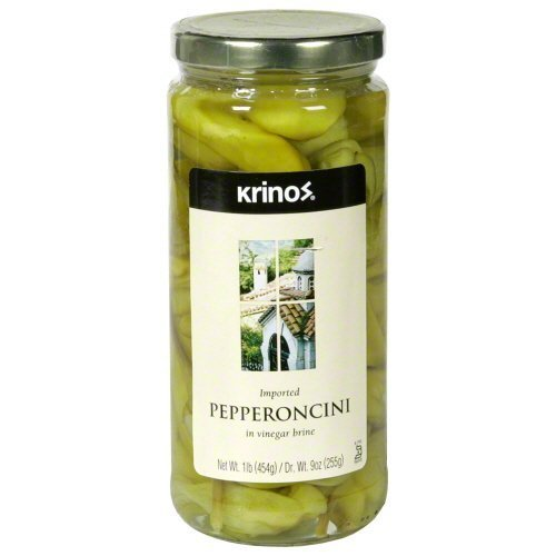 Krinos Whole Greek Pepperoncini Peppers Pickled in Vinegar, 16 Ounces, Makes the Best Antipasto and Salads