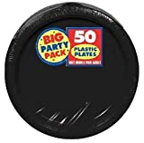 Big Party Pack 10 1/4″ plastic plates, Black (50 count)