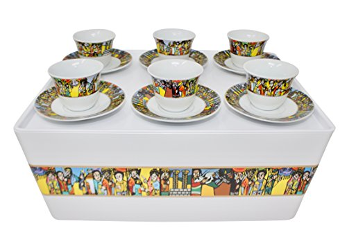 Ethiopian Coffee Ceremony - Ethiopian/Eritrean Coffee Cups with Rékébot, Sábà Edition. Full set, 14 Pcs. Comes with 6 cups, 6 saucer & Rekebot with a Lid.