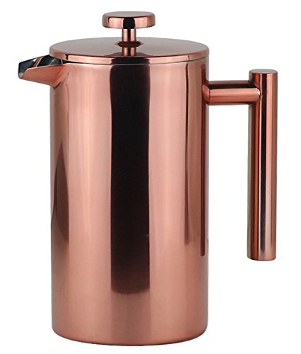 Stainless Steel French Press Coffee Maker 34 OZ, Retain Heat and Easy Clean, Bonus Stainless Steel Screen, 8 Cup 1 Liter, Rose Gold