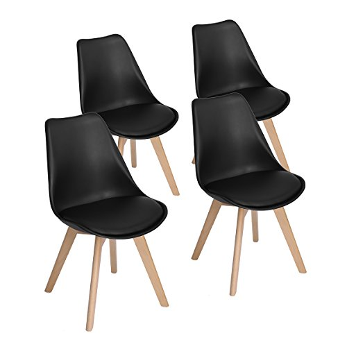 Modern Upholstered Eames Style Accent Dining Chairs Kitchen Chair with Soft Padded Seat Plastic Shell Wooden Legs for Bedroom Kitchen Set of 4,Black (Chairs Dining Upholstered)