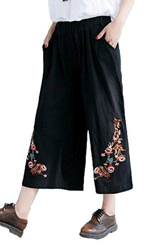 ペルメル公爵夫人訴えるAIJUAN レディース ガウチョパンツ ゆったり 刺繍 ワイドパンツ 大きいサイズ パンツ ズボン ブーツカット 九分丈 カジュアル 薄手 文芸 ウェストゴム リネン ファッション