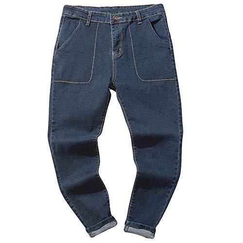 Pantalones Largos para Hombre Vaqueros Denim Jeans Deportivo Pantalones Slim Fit Pantalón Motorcycle Vintage Hiphop Moderno, Laborales,Casuales Azul3