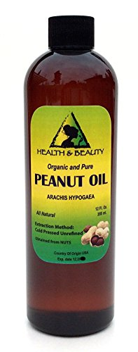 Peanut Oil Unrefined Organic Carrier Cold Pressed Virgin Raw Pure 12 oz