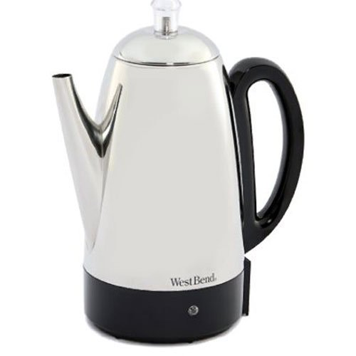 Electric Percolator Coffee Pot - West Bend 54159 Classic Stainless Steel Electric Coffee Percolator with Heat Resistant Handle and Base Features Detachable Cord, 12-cup, Silver(Discontinued by Manufacturer)