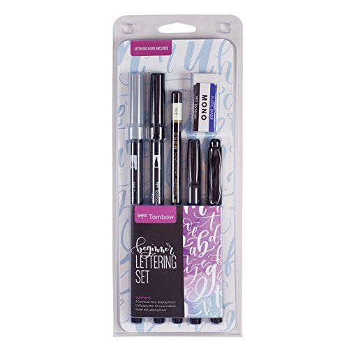 Tombow 56190 Beginner Lettering Set. Includes Everything You Need to Start Hand Lettering (Best Brush Pens For Lettering)