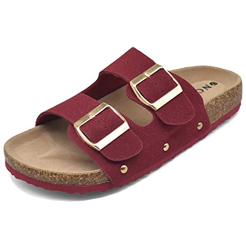- Flat Slide Sandals for Women with Arch Support 2 Strap Adjustable Buckle Slip on Slides Shoes Non Slip Rubber Sole Red