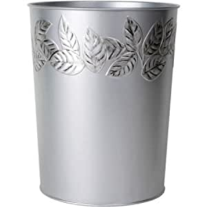 Mainstays elegant style silver leaves wastebasket home kitchen - Elegant wastebasket ...