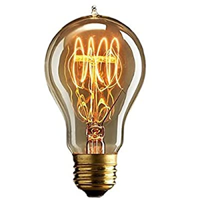 KINGSO Vintage Edison Light Bulb 60W - A19 Dimmable Filament Incandescent Antique Light Bulb for Home Light Fixtures E27 Base 110V - 6Pcs