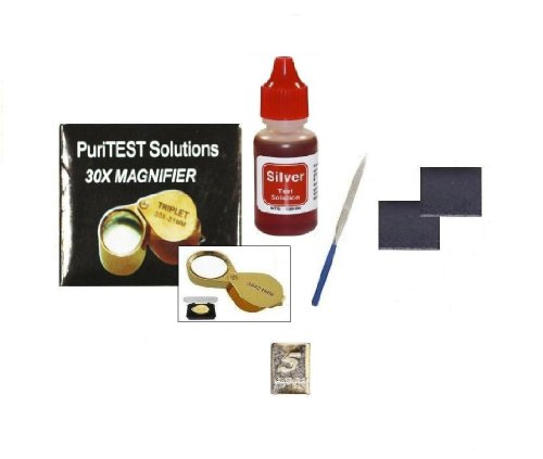 Jeweler's Professional Silver Testing Kit with Accessories and Free Sample 5gr Silver Bar