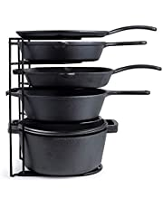 Heavy Duty Pan Organizer, Extra Large 5 Tier Rack - Holds Cast Iron Skillets, Dutch Oven, Griddles - Durable Steel Construction - Space Saving Kitchen Storage - No Assembly Required - Black 15-inch