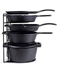 Heavy Duty Pan Organizer, Extra Large 5 Tier Rack - Holds Cast Iron Skillets, Dutch Oven, Griddles - Durable Steel Construction - Space Saving Kitchen Storage - No Assembly Required - Black 15.4-inch