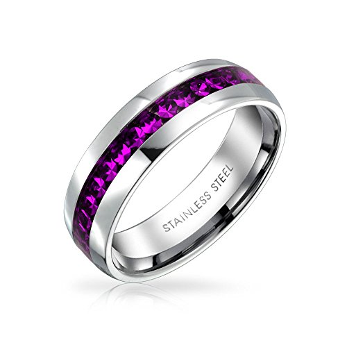 Bling Jewelry Birth Month October Pink Channel Set Crystal Eternity Band Ring for Women for Men for Teen Silver Toned Stainless Steel