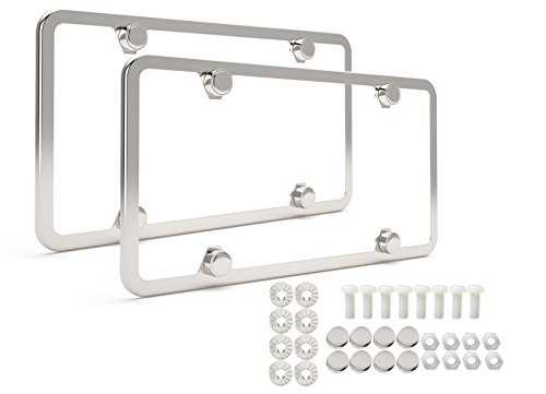 License Plate Frame | Set of 2 High-end Polish Mirror 4-hole 304-grade Stainless Steel Frames + Stainless Steel Theft-proof Screw Caps | Slim Bracket | Elegant Gift Box