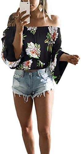 Hibluco Remera corta, sexy, con estampado floral, con hombros caídos, a la moda, para mujer.