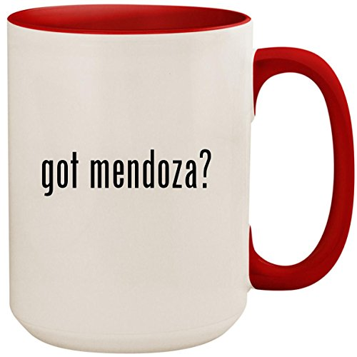 (got mendoza? - 15oz Ceramic Colored Inside and Handle Coffee Mug Cup, Red)