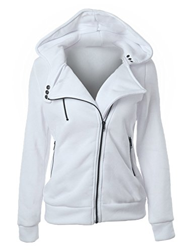 Choies Women White Zip Up Fleece Slim Fit Hooded Coat Warm Pocket Hoodie Jacket XL