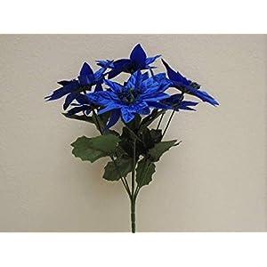 JumpingLight 4 Bushes Navy Blue Christmas Poinsettia Artificial Flowers 12'' Bouquet 7-209NBL Artificial Flowers Wedding Party Centerpieces Arrangements Bouquets Supplies 49
