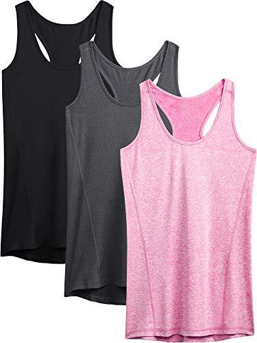Neleus Workout Running Racerback Long Tank Top for Women,8006,3 Pack,Black,Grey,Rose Red,L,EU XL
