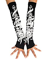 ECOSCO Punk Gothic Against Evil Death Hand Arm Warmer Finger Gloves