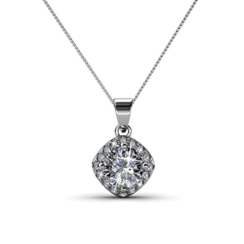 Cate & Chloe Celeste 18k White Gold Necklace w/Swarovski Crystals, Best Unique Silver Necklace for Women, Special-Occasion Jewelry, Crystal Necklace with Swarovski Crystals for Ladies - msrp $128