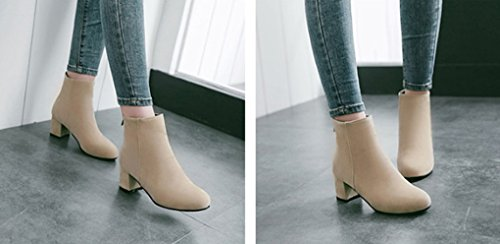 Autumn and Winter Comfortable Square Heel Back Zip Bare Boots Beige RK5231