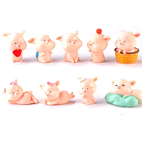 KATERT 9 Pcs Miniature Pigs Figurines, Cute Pink Pig Family Toys Figures DIY Crafts for Fairy Garden Decoration Home Decor Cake Toppers]()