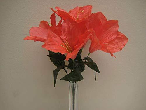 JumpingLight 6 Bushes Coral Amaryllis 6 Artificial Silk Flowers 16'' Bouquet 647CL Artificial Flowers Wedding Party Centerpieces Arrangements Bouquets Supplies - Bush Amaryllis