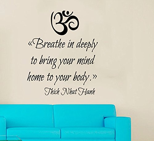 Wall Decals Vinyl Decal Sticker Home Interior Design Art Mural Om Sign Quote Breathe in Deeply to Bring Your Mind Home to Your Body Indian Amulet Bedroom Living Room Gym Yoga Studio Nursery Kids Room Decor KT83