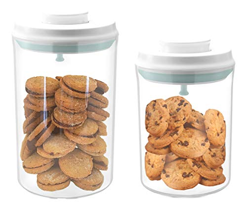 Airtight cookie jars, Kitchen storage container with lids, Plastic canister, Flour and sugar containers, set of 2 (2qt+1qt) (Cookie Jars Set)