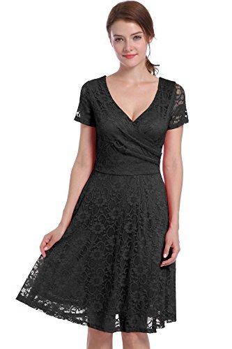 iShine Damas v cuello de encaje vestido negro