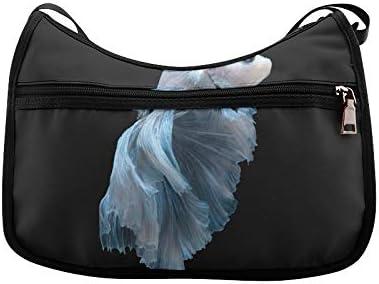Blue Siamese Fighter Messenger Bag Crossbody Bag Large Durable Shoulder School Or Business Bag Oxford Fabric For Mens Womens