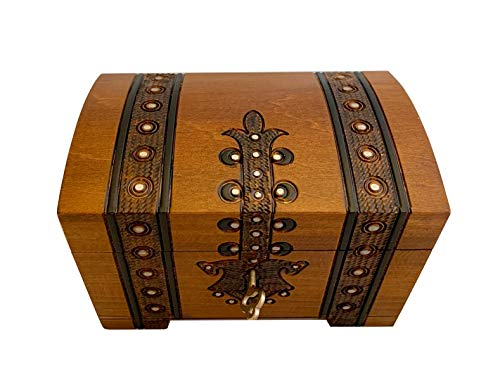 (MilmaArtGift Treasure Chest Box w/Lock and Key Polish Linden Wood Handmade Pirate Box Keepsake)