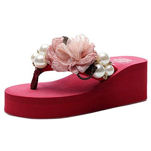 HIRIRI Ladies Solid Color Pearl Flowers Bohemian Wedges Flip Beach Sandals Casual Slip-On Round-Toe High Heel Slippers Red (Tiger Loom Beading Pattern)