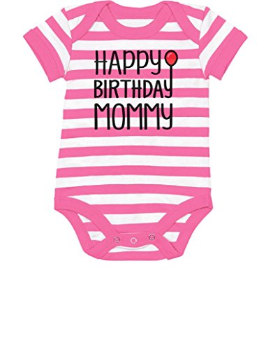 Tstars Happy Birthday Mommy Cute Boy/Girl Infant Moms Gift Baby Bodysuit 24M Pink/White