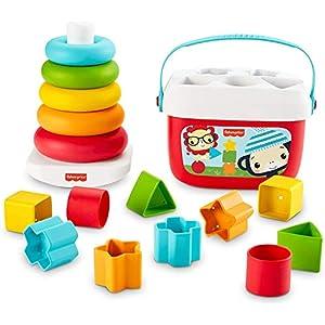 Fisher-Price Mes Premiers Blocs et Pyramide Arc-en-Ciel, jouets bébés en matériau d'origine végétale pour trier et…