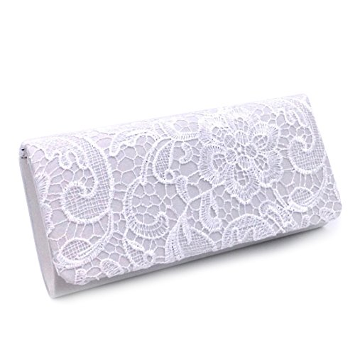 Womens Satin Ladies Floral Lace Small Bridal Party Evening Clutch Bag Handbag Wedding Purse White