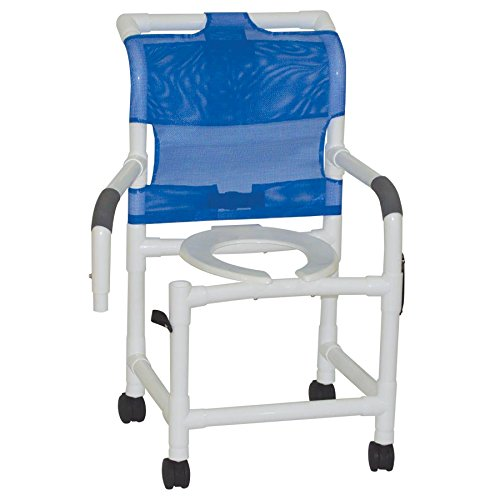 MJM International 118-3TW-DDA Standard Shower Chair with Double Drop Arms, 300 oz Capacity, 40.5
