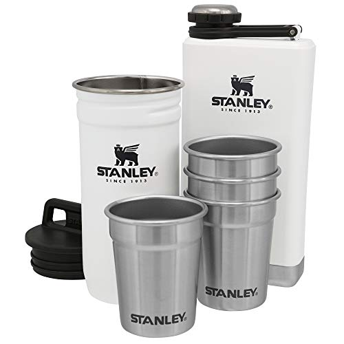 Stanley Adventure Pre-Party Shot Glass + Flask Set (Stanley Stainless Steel Shots Flask Gift Set)
