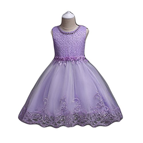 Flower Girl Dresses Purple Tulle Dress Bridal Wedding Party Ball Gown A-Line with Pearls Little Girl Princess Birthday Elegant Pageant Toddlers 3T Size 4 Knee Length (Purple (Purple Tulle Flower Girl Dresses)