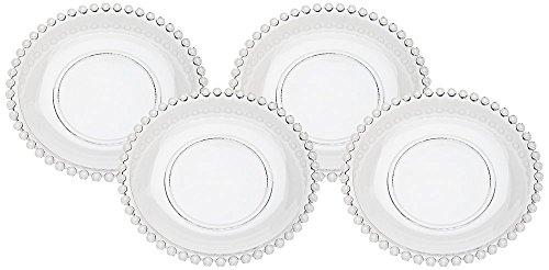 Beaded Edge Dinner Plate - Set of 4 Godinger Chesterfield Glass Dessert Plates
