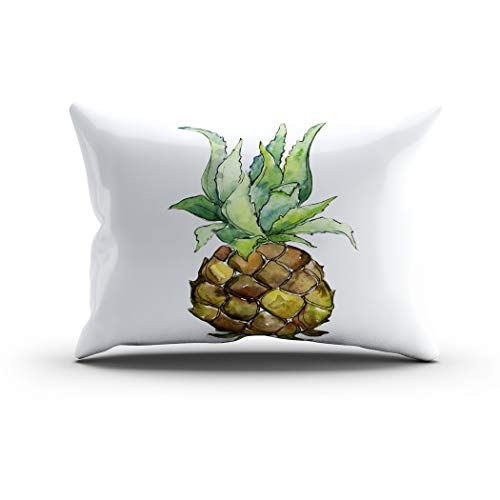 Makkier Throw Pillow Cover Polyester Exotic Pineapple Healthy Food Watercolor Style Home Decorative Sofa Couch Bedroom Living Room Car Pillowcases Cushion Standard 20 x 26 Inch (Grenadier Natural Light)