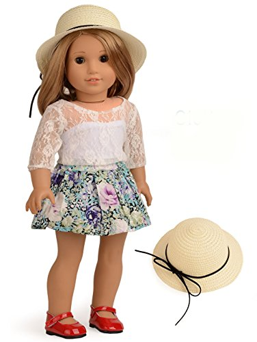 Sweet Dolly Doll Clothes Lace Top Floral Skirt Set for 18 Inches American Girl Dolls -