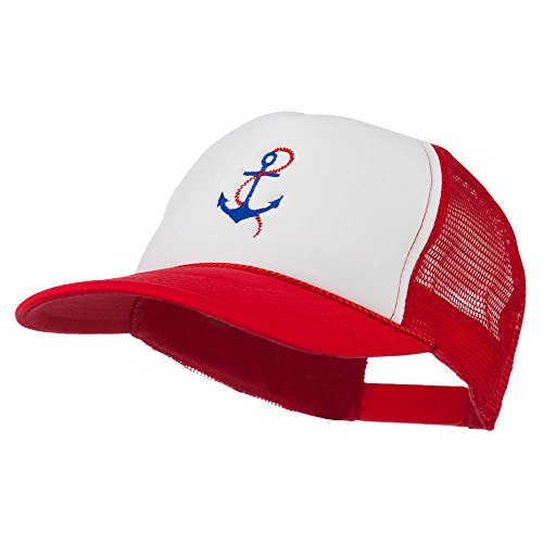 White Anchor Cap Chain (E4hats Anchor with Chain Embroidered Foam Mesh Back Cap - Red White Red OSFM)