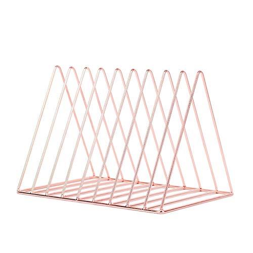 JHFUH Nordic Style Triangle Shape File Organizer Iron Desktop Storage Book Rack Bookshelf Magazine Holder Suitable for Home Office Waiting Rooms Break-Rooms School (Rose - Oak Holder Iron Mini