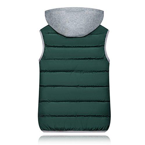 Haokty Di Cappuccio Giù Trapunta Verde Gilet Zip Alto Giacca Imbottito Cotone Solido Con Collo Outwear Donne Gilet 1WwcrOfq1