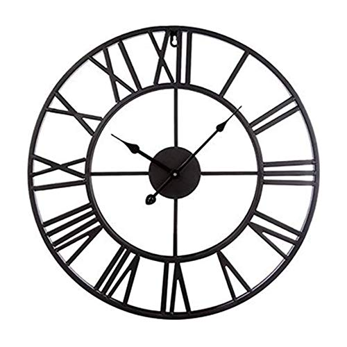 Lastaill Wall Clock Living Room Round Wrought Iron Clock 20 inches, Black