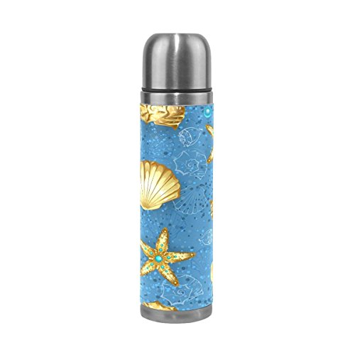 Starfish Seashell Double Wall Water Bottle Stainless Steel Vacuum Insulated Thermos Flask Hot and Cold 17 Oz (1690 Double Handle)