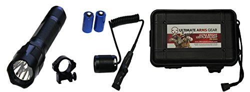 Tactical 130+ Lumens Flashlight LED Light Kit For SKS AK47 AK-47 AK-74 VZ-58 WASR Rifle Includes Weaver Picatinny Rail Mount, Button Cap, Pressure Switch, Batteries, Defense Bezel & Hard Travel Case by Ultimate Arms Gear