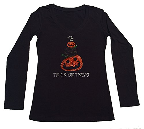Women's T-Shirt with Halloween Pumpinks with Trick Or Treat in Rhinestones (1X, Black Long Sleeve) ()